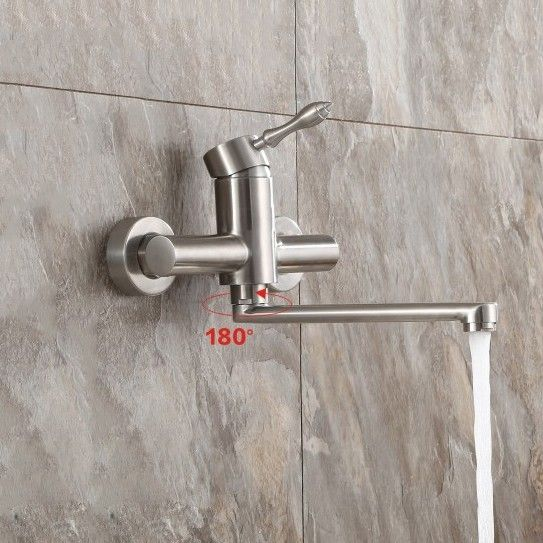 Stainless Steel Wall Mounted Kitchen Faucet with Single Lever in Brushed Nickel - Kitchen Faucets - Faucets