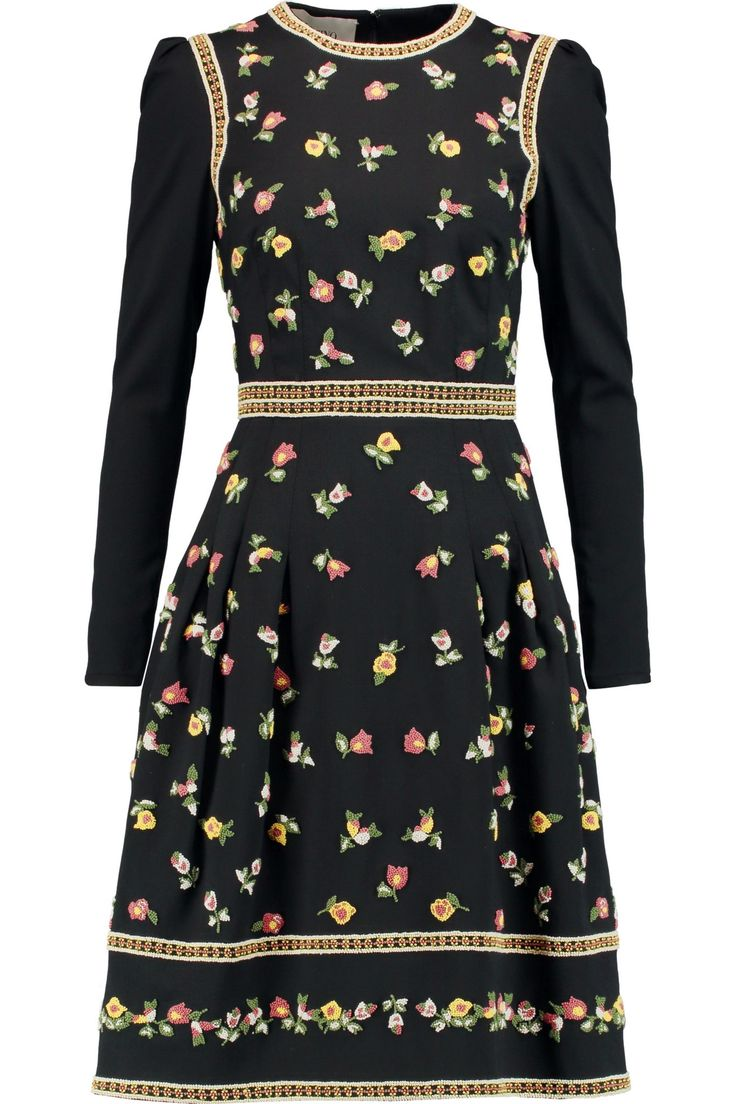 Embroidered stretch-wool dress   VALENTINO   Sale up to 70% off   THE OUTNET