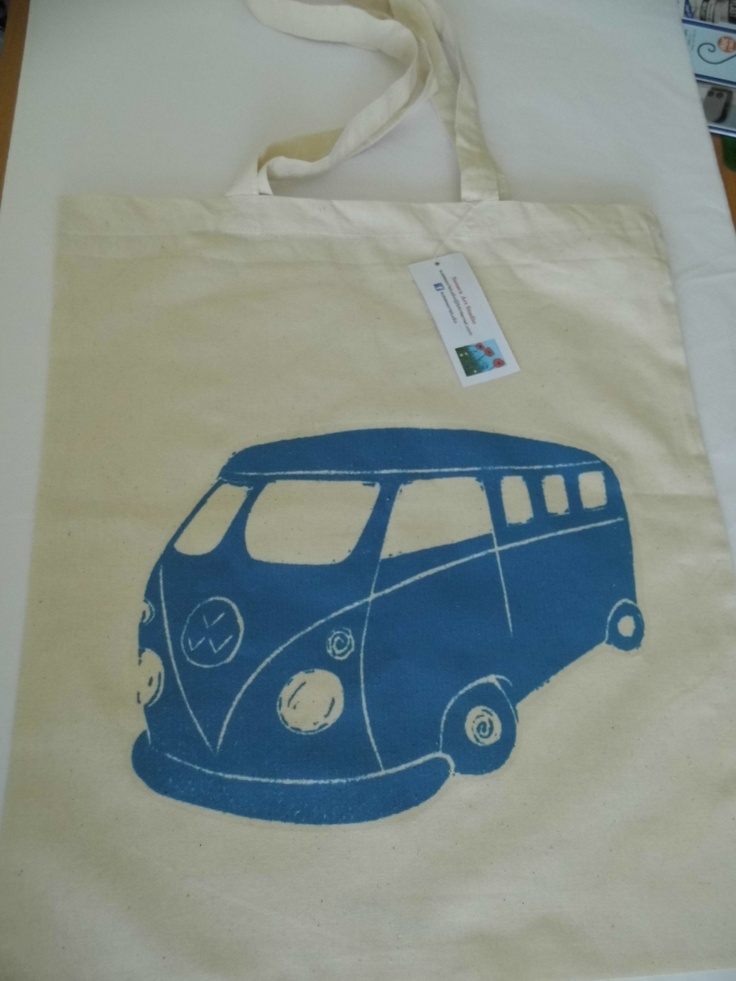 Blue Campervan Cotton Tote Bag, based on my original linoprint design £15 + p Sussexartstudio