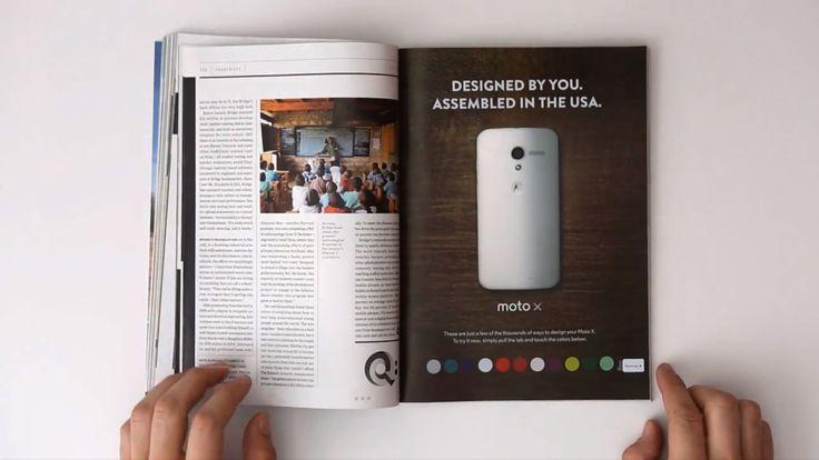 Une publicité imprimée « interactive » pour le Motorola Moto X dans Wired