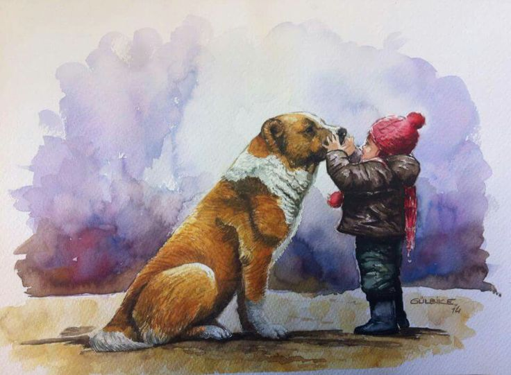 watercolor. the boy and the dog. love