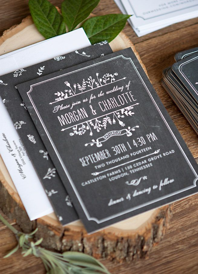 Chalkboard Wedding Invitation Suite #stationery #papergoods #evermine | Evermine Blog | www.evermine.com