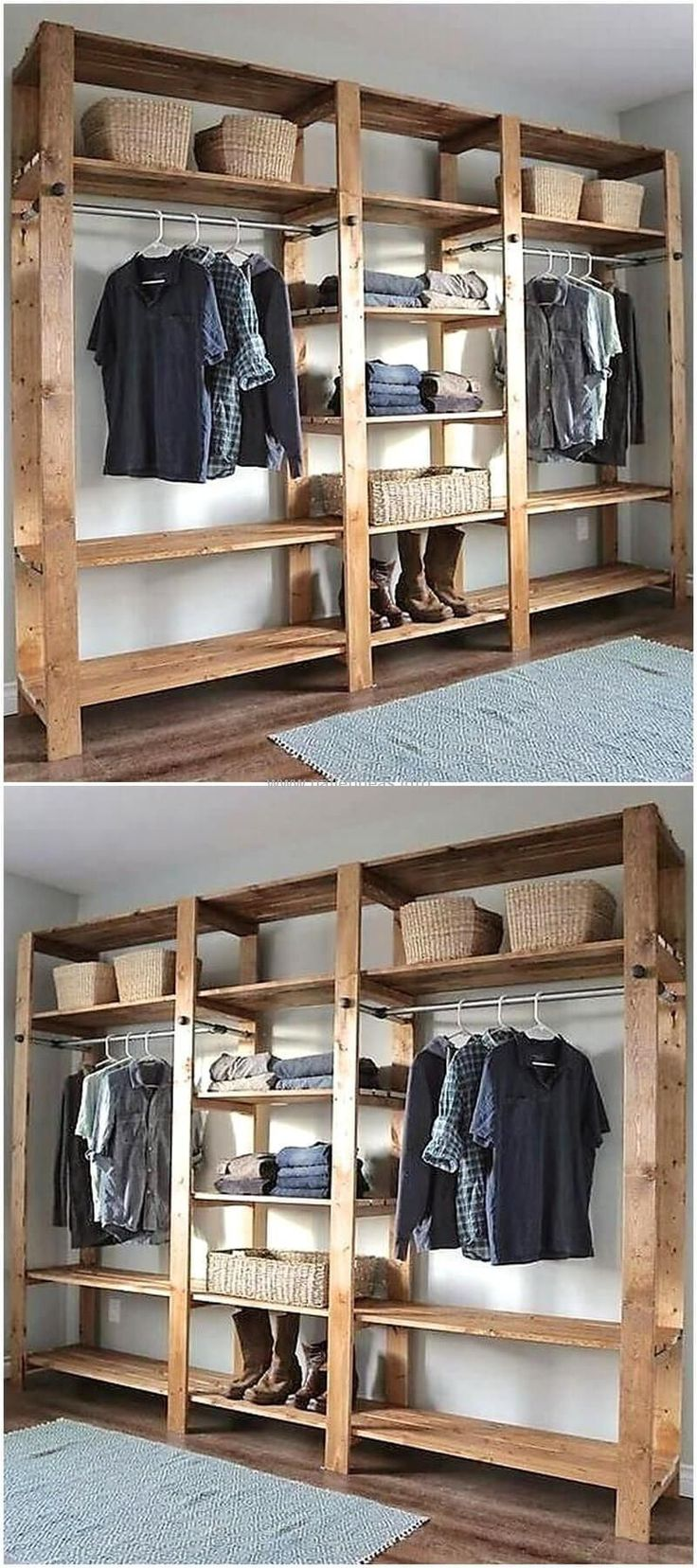 pallets wooden closet...we could build this into the existing closet. And it's pretty enough the closet doesn't need doors.