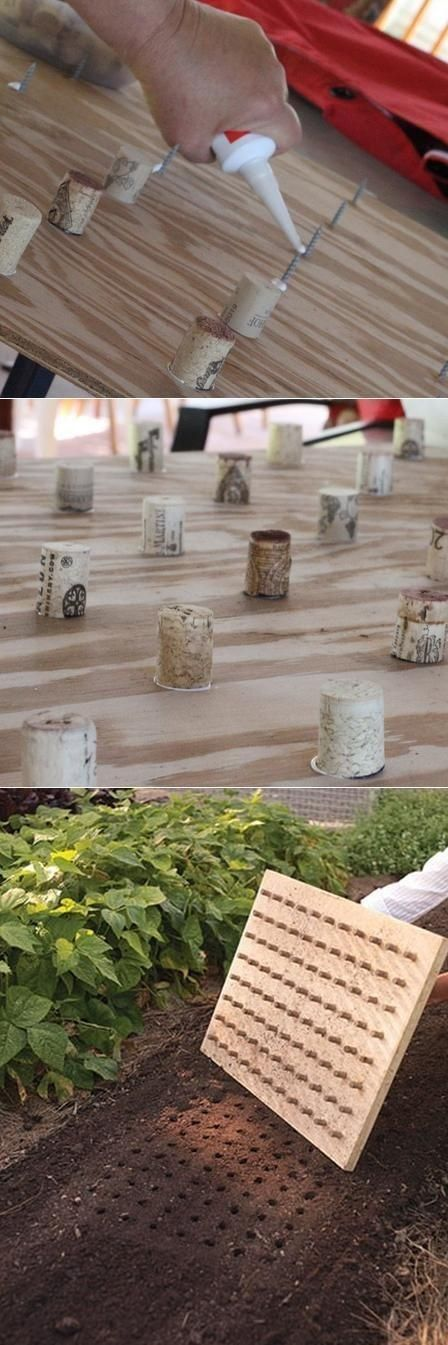 Wine corks stuck to a piece of wood makes a dibble for even seed planting. | 41 Cheap And Easy Backyard DIYs You Must Do This Summer