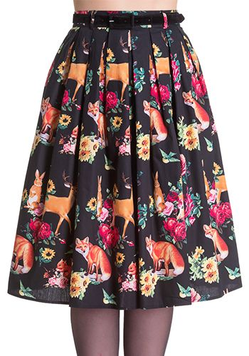 Adorable fall skirt in black with fox, deer, rabbit, squirrel and floral prints. Hip pockets. Removable black belt. Back zipper. 100% cotton Not lined Not stretchy Women's Vintage-Style Dresses & Accessories - Canada Magical Forest Skirt -