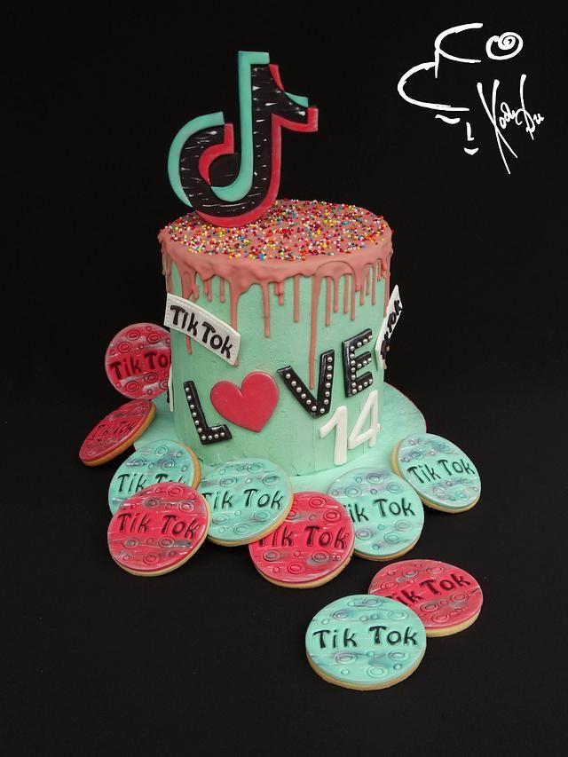 Tik Tok Cake Cookies Simple Birthday Cake Designs Unique Birthday Cakes Cake Cookies