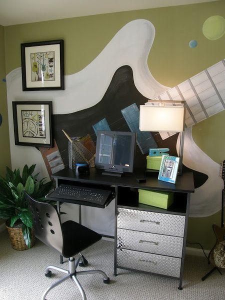 Cool Murals for Boys Room {Oversized Guitar} Featured on Design Dazzle