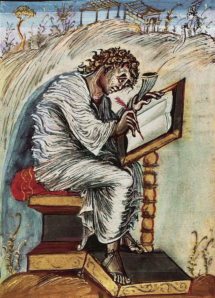 San Matteo, dai Vangeli di Ebbone, codice manoscritto risalente all'816 - 823.