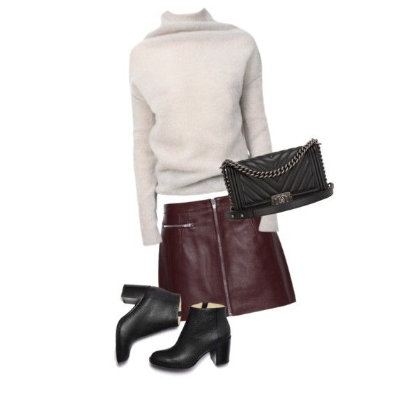 Red leather skirt by trendsy on Polyvore featuring Rick Owens, Alexander Wang…
