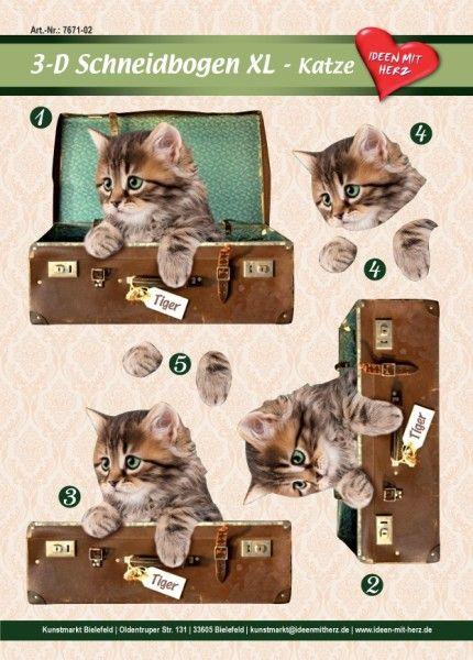 3-D Bogen XL-Katze, zum Ausschneiden