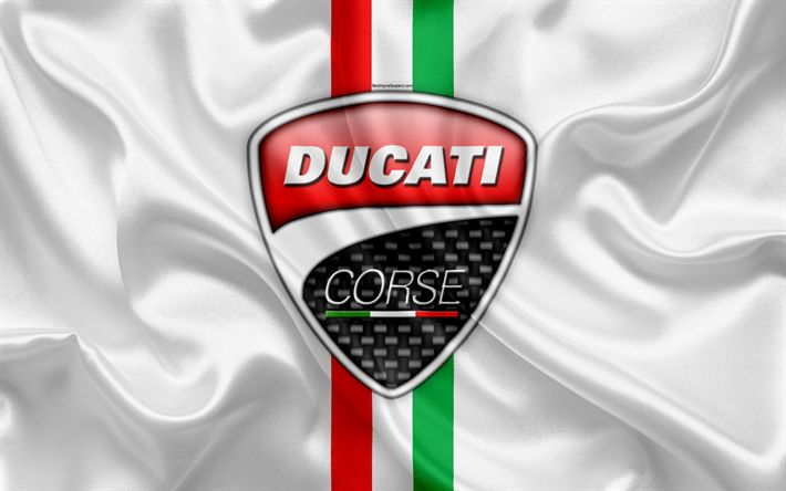 Download wallpapers Ducati Corse, 4k, logo, emblem, Italian company, flag of Italy, Ducati