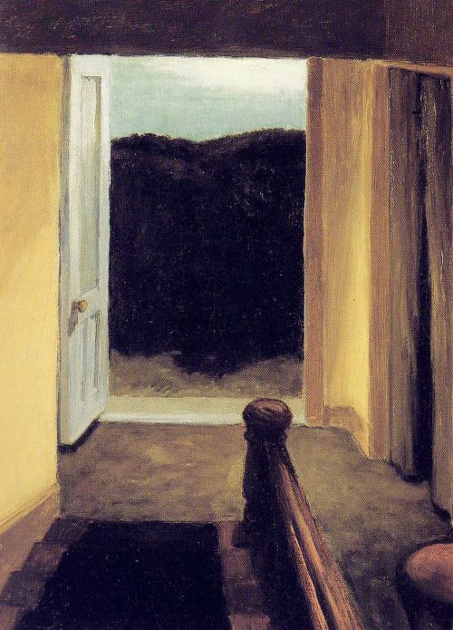 Edward Hopper, Stairway, 1919. Edward Hopper is my favorite artist because he used to picture ordinary situations like streets or rooms. This picture makes a viewer think about what is around him, it evokes a feeling that it is viewer´s point of view and it continues somewhere.