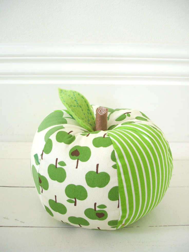 Green Fabric Apple shaped cushion @Anou Design