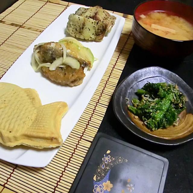 魚の三種 - 100件のもぐもぐ - 鯵の南蛮漬け  サワラのオリーブオイル焼  ワサビのおひたし  味噌汁  たい焼き by Hiroshi  Kimura