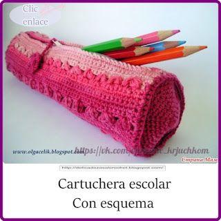 Delicadezas en crochet Gabriela: Cartuchera escolar