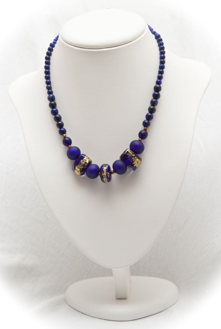 gold foil midnight blue beads and lapus lazuli necklace