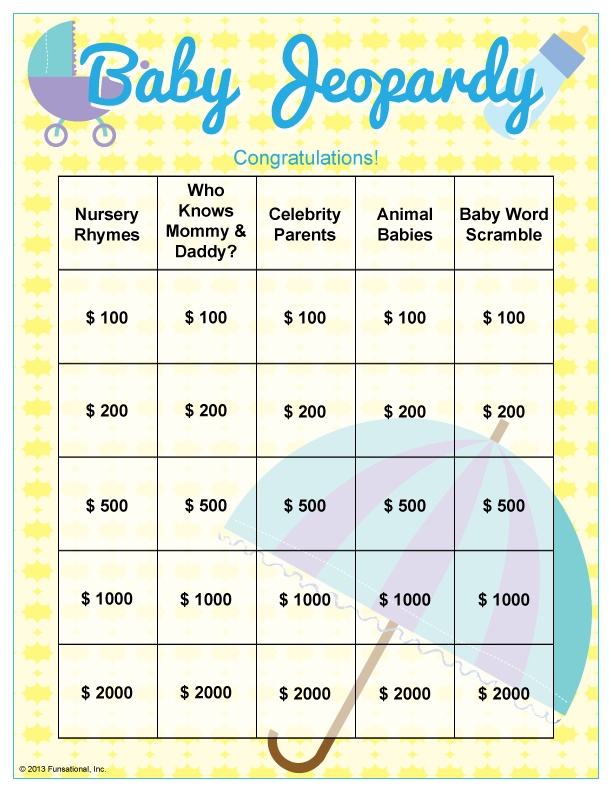 99 best Baby Shower Ideas images on Pinterest April showers - blank jeopardy template