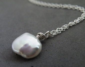 Faceted Sterling Silver Nugget Pendant Necklace Organic Silver