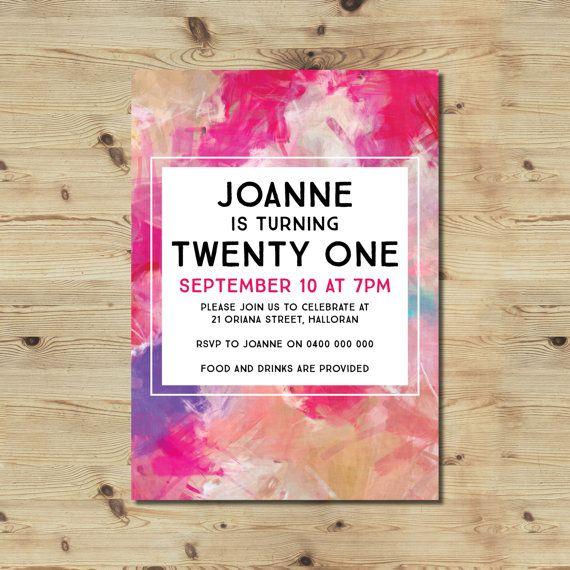 21st Birthday Invitation  Watercolour Invitation  Modern
