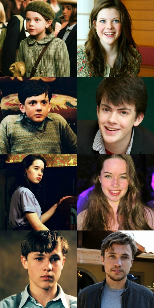 Lucy, Edmund, Susan, and Peter of narnia--beginning to end. I think that Peter and Lucy changed the most.....:)