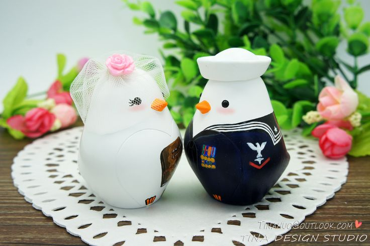Navy Wedding Cake Toppers -Love Bird Wedding Cake Toppers With Enlisted Navy Blues