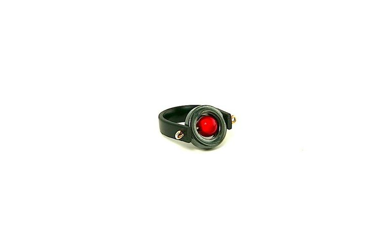 Beautiful red miracle bead ring with Kiruna hematite and rubber