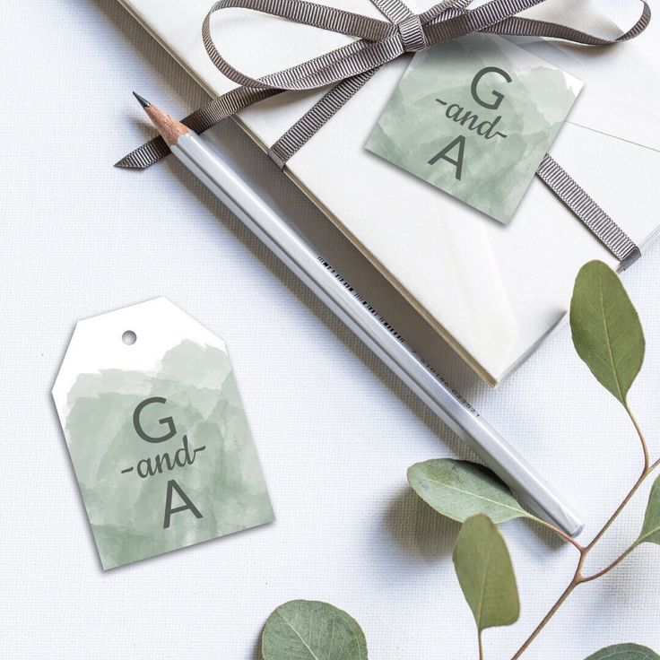 sending wedding invitations months before%0A Sage watercolor tags from the new wedding invitation listing  They add just  a little something