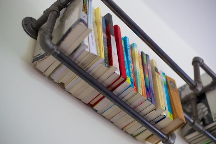 Galvanized pipe book shelf