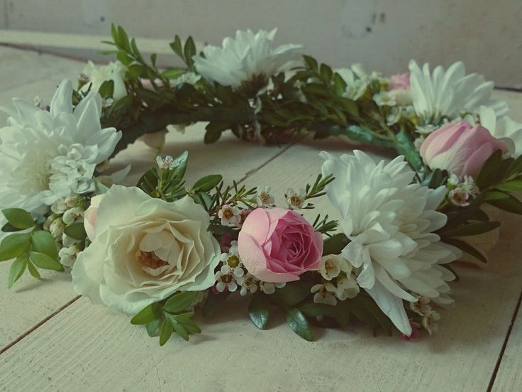 Pastel Floral Crown, roses, whites and foliage
