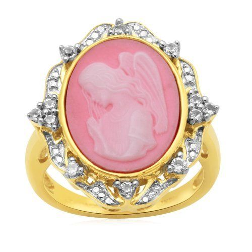 Sterling Silver Gold Flash Plating Cameo with Created White Sapphire Ring, Size 7 Amazon Curated Collection. $58.00. Made in India. Save 55%!