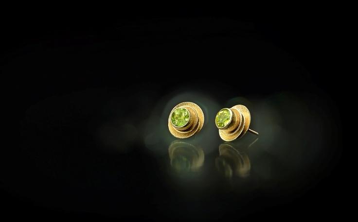 NÁUŠNICE - žluté zlato, olivíny