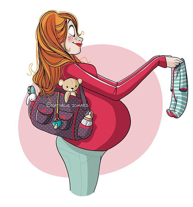 Смешной рисунок беременной