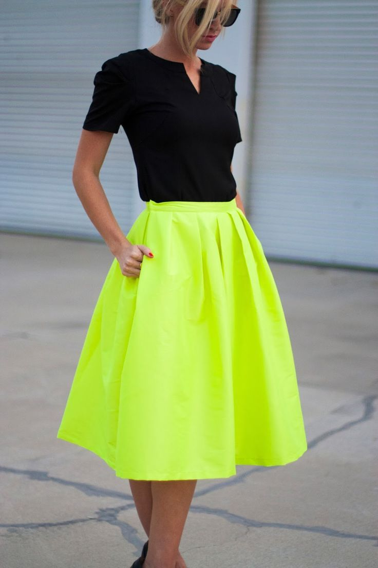 Ineffable cute dress: Lovely neon skirt and polka dot sweater makes her look very attractive and charming. Find this Pin and more on Style by Luisa Yupa. polka dotted blouse and neon skirt make a modern twist on attire using color. Neon and polka dots. I would so rock this! Full neon skirt at .