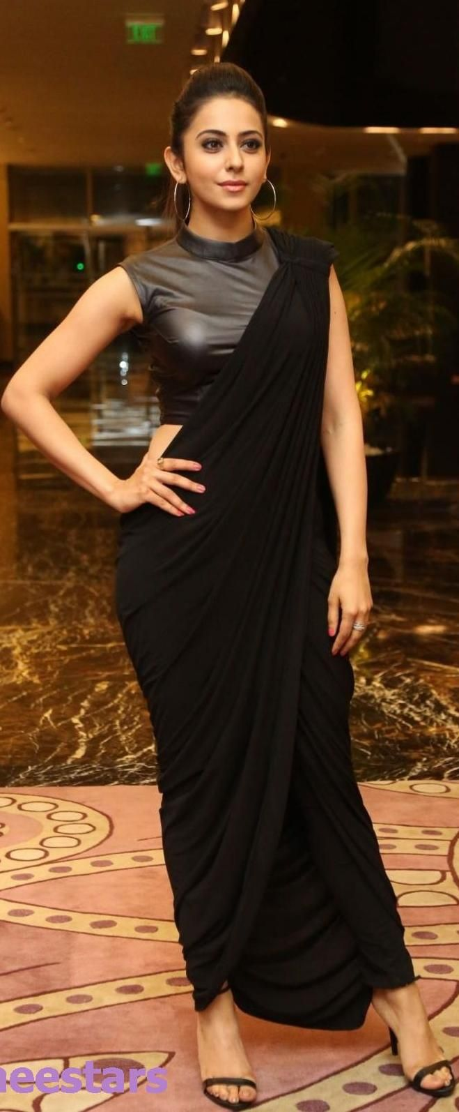 ''Pinterest @Littlehub || Six yard- The Saree ❤•。*゚|| Rakul preet singh in saree inspired dress