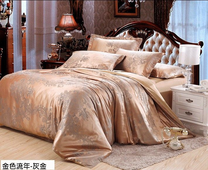 Cheap jacquard silk, Buy Quality jacquard paisley directly from China comforter sets for kids Suppliers: Elegant Gold Grey 4pcs tribute tencel silk Jacquard comforter/bedclothes/duvet cover set Queen/King size