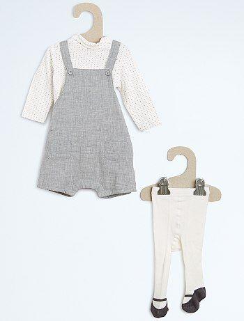 Ensemble salopette + sous pull + collants Bébé fille à 20,00€ - Découvrez nos collections mode à petits prix dans notre rayon Ensemble.