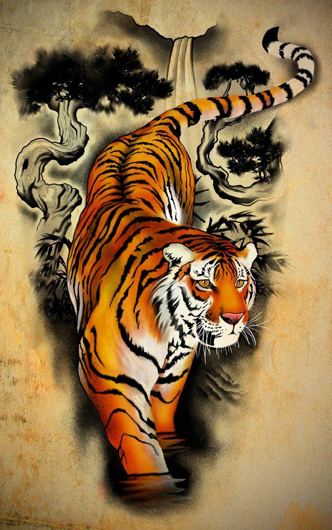 Tattoo Design - Tiger by badfish1111.deviantart.com on @DeviantArt