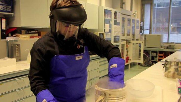 Ilmapallo, kumihanska ja kahvikupillinen nestetypessä. Kemianluokka Gadolinissa testattiin LUMA-juhlaseminaarin yhteydessä, mitä tapahtuu ilmapallolle, kumihanskalle ja kuumalle kahvikupposelliselle hyisessä nestetypessä.