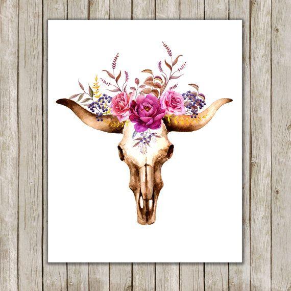 8 x 10 Bull aquarelle Skull Art imprimable, crâne affiche, Boho Animal Print, affiche d'Art Floral, Art du mur sud ouest, téléchargement immédiat