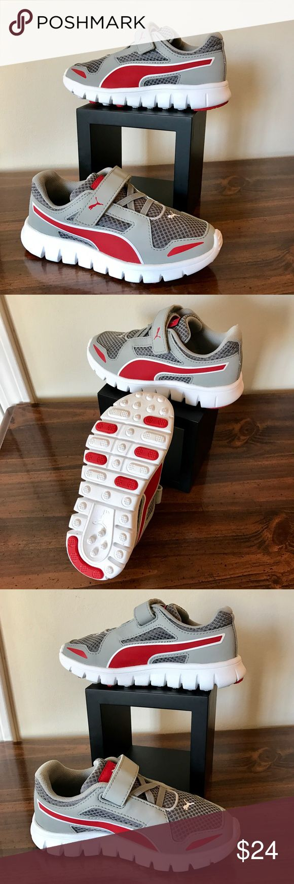 NWOT Puma Kinder-Fit Shoes, little kids 8.5. NWOT Puma Kinder-Fit Shoes, little kids 8.5. Never tried on so brand NEW without the box or tags however stickers are still on them.  Versatile athletic play shoes for boys or girls! Easy on/off with the velcro top.  Come from a pet/smoke free home. Puma Shoes Sneakers