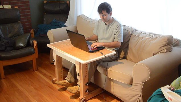 Standing desks are all the rage, but sometimes you just want to chill on the couch while working on your laptop. Here's a desk that you can build that accomplishes both.