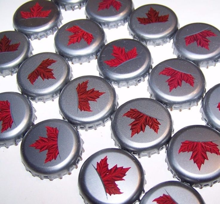 50 Beer Bottle Caps Molson Canadian Red Silver Maple Leaf Recycle Upcycle Craft #MolsonCanadian