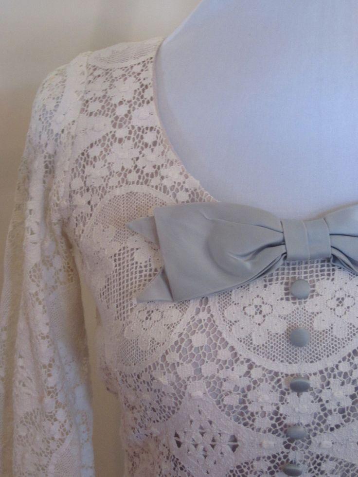 VINTAGE authentic rare 60s/70s retro white crochet lace blue buttons bow scoop neck dress (us 2, uk au nz 6, eu 34) by shopblackheart on Etsy