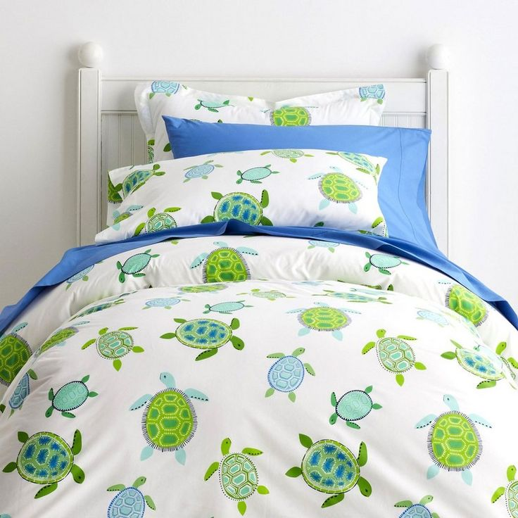 Sea Turtle Percale Duvet Cover - Friendly turtles swim in all directions across this charming kids' duvet cover in soothing green and blue hues.