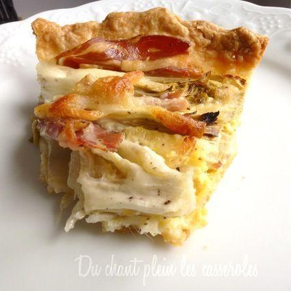 Tarte fine aux endives, pancetta et fromage filant