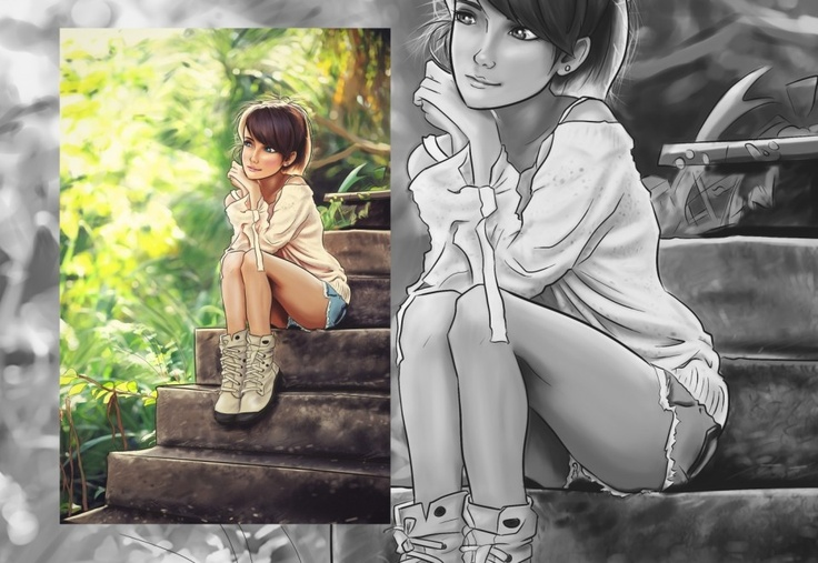 #Anime Forest Doll #Illustration - inLite Illustrations & Design #manga #digitalart #forest #drawing