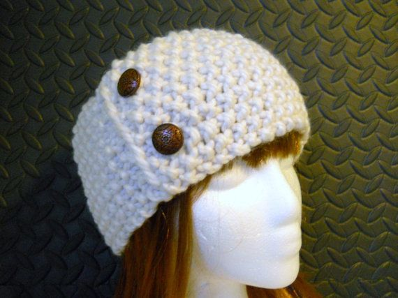 Winter White Cobblestone Handknit Headband with Copper by Pikeys, $25.00