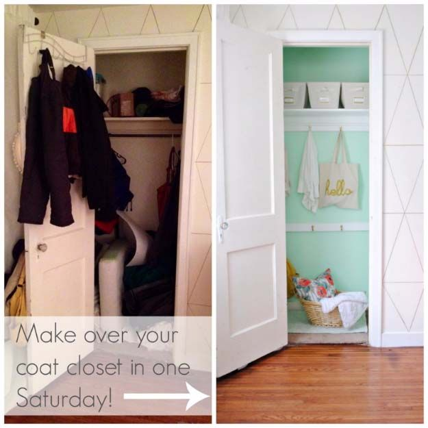 DIY Closet Organization Ideas for Messy Closets and Small Spaces. Organizing Hacks and Homemade Shelving And Storage Tips for Garage, Pantry, Bedroom., Clothes and Kitchen     DIY Coat Closet Makeover     http://diyjoy.com/diy-closet-organization-ideas
