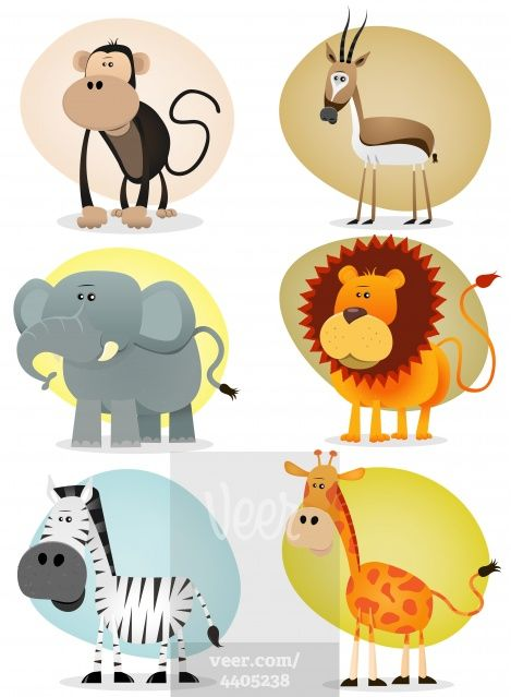 African Jungle Animals Collection Stock-Illustrationen