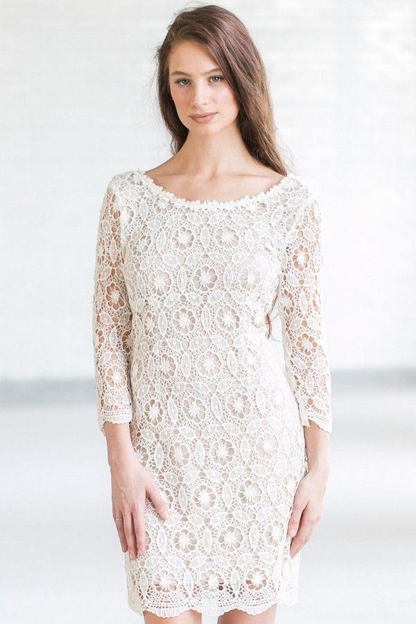 Crochet My Way Lace Sheath Dress In Ivory Beige Off White Lace Dress Short Lace Dress White Lace Dress Short